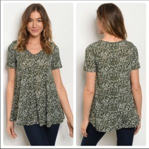 *Olive and white animal print top.